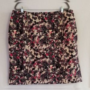 Talbots Black/Off White/Pink Floral Lined  Skirt